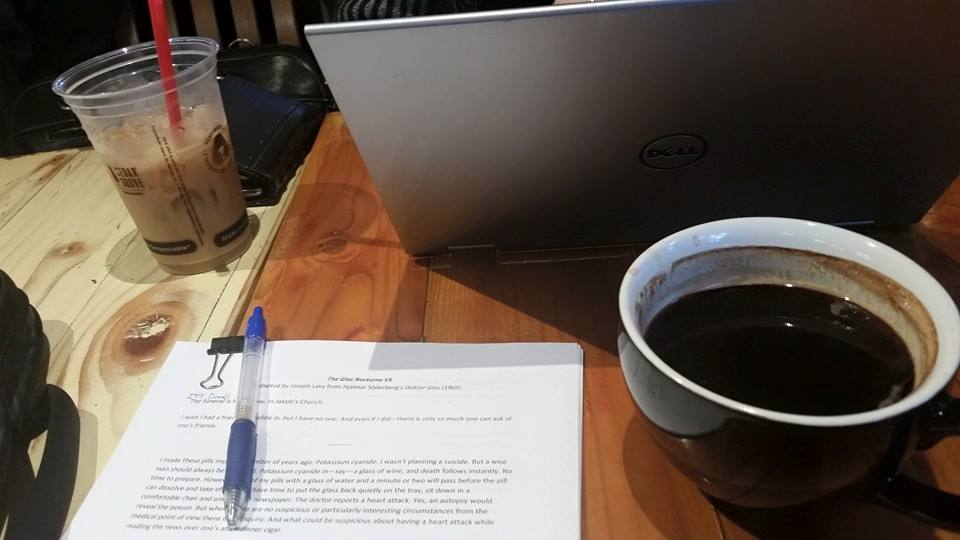 A wonderful morning coffee worksession for Joseph, Annie, and Zhenya. Artistic and producing discussions abound! | Photo: Joseph Lavy